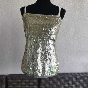 Soft Surroundings Gold Sequined Tank Top NEW XL